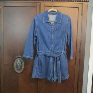 Free People Pants - FREE PEOPLE Zip Up Long Sleeve Denim Short Romper